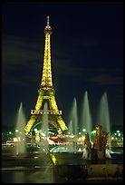 Tour Eiffel (Eiffel Tower) and Fountains on the Palais de Chaillot by night. Paris, France ( color)