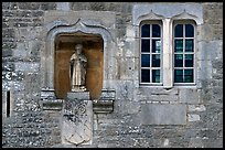 Statue and window, Fontenay Abbey. Burgundy, France
