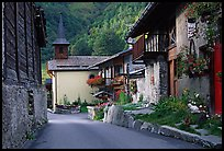 Street and church in village of Le Tour, Chamonix Valley. France