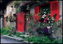 Flowered houses in village of Le Tour, Chamonix Valley. France ( color)