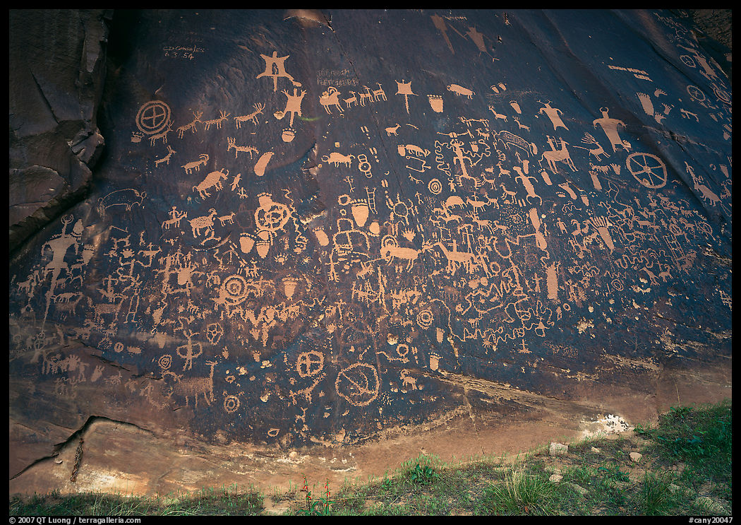 Slab called Newspaper Rock covered with petroglyphs. Bears Ears National Monument, Utah, USA