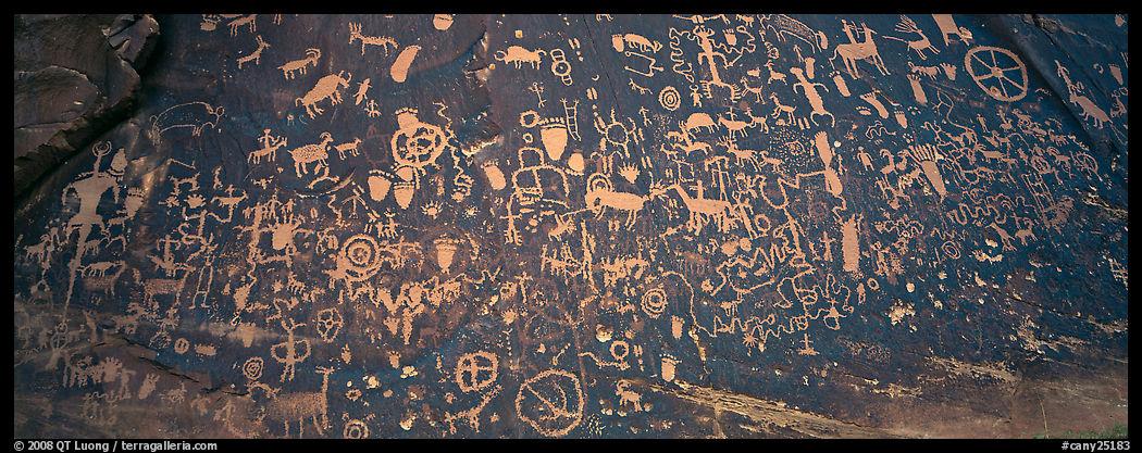 Petroglyphs on rock slab, Newspaper Rock. Bears Ears National Monument, Utah, USA