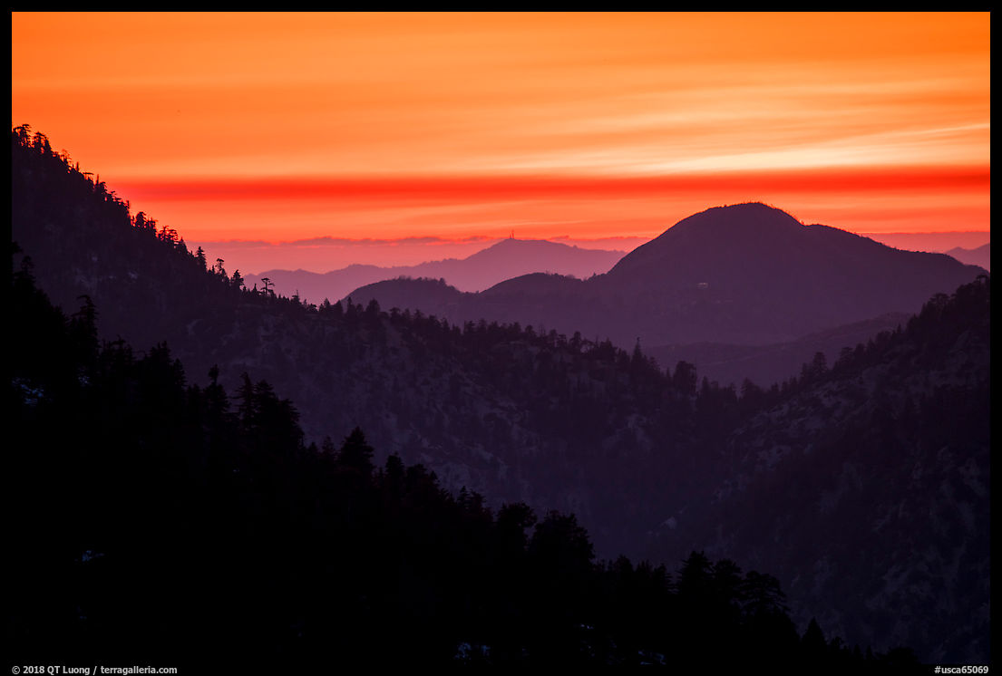 Ridges at sunset. San Gabriel Mountains National Monument, California, USA