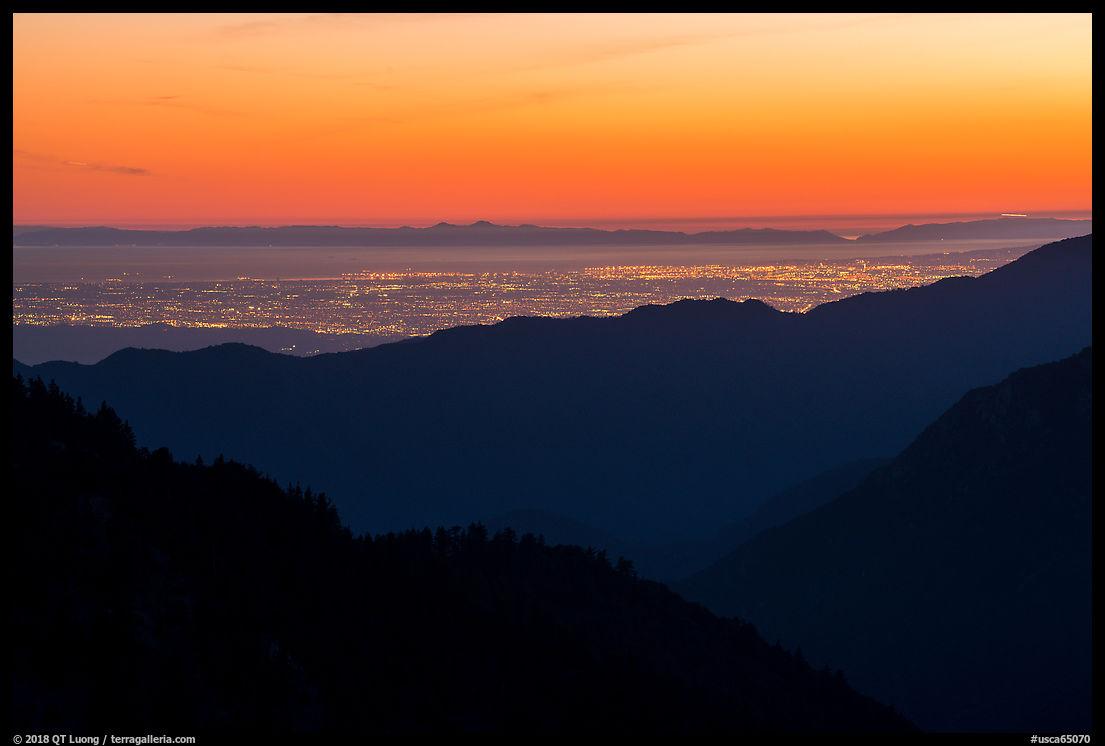 Los Angeles Basin at sunset. San Gabriel Mountains National Monument, California, USA