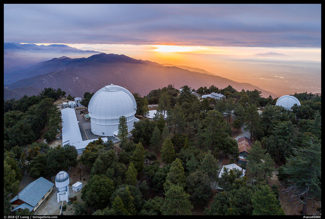 Aerial view of Mount Wilson observatory, mountains, and Los Angeles Basin. San Gabriel Mountains National Monument, California, USA