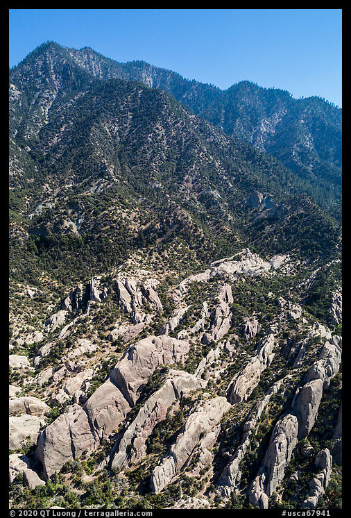 Aerial view of Devils Punchbowl Formation. San Gabriel Mountains National Monument, California, USA