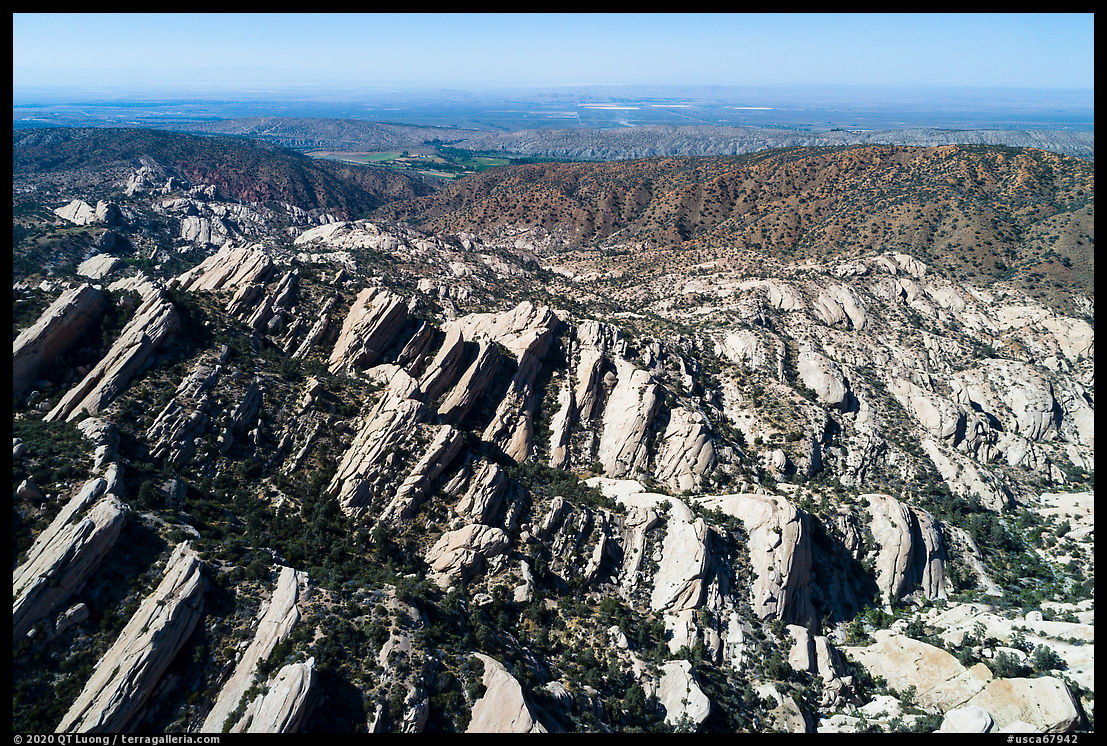 Aerial view of Devils Punchbowl tilted sandstone formation. San Gabriel Mountains National Monument, California, USA