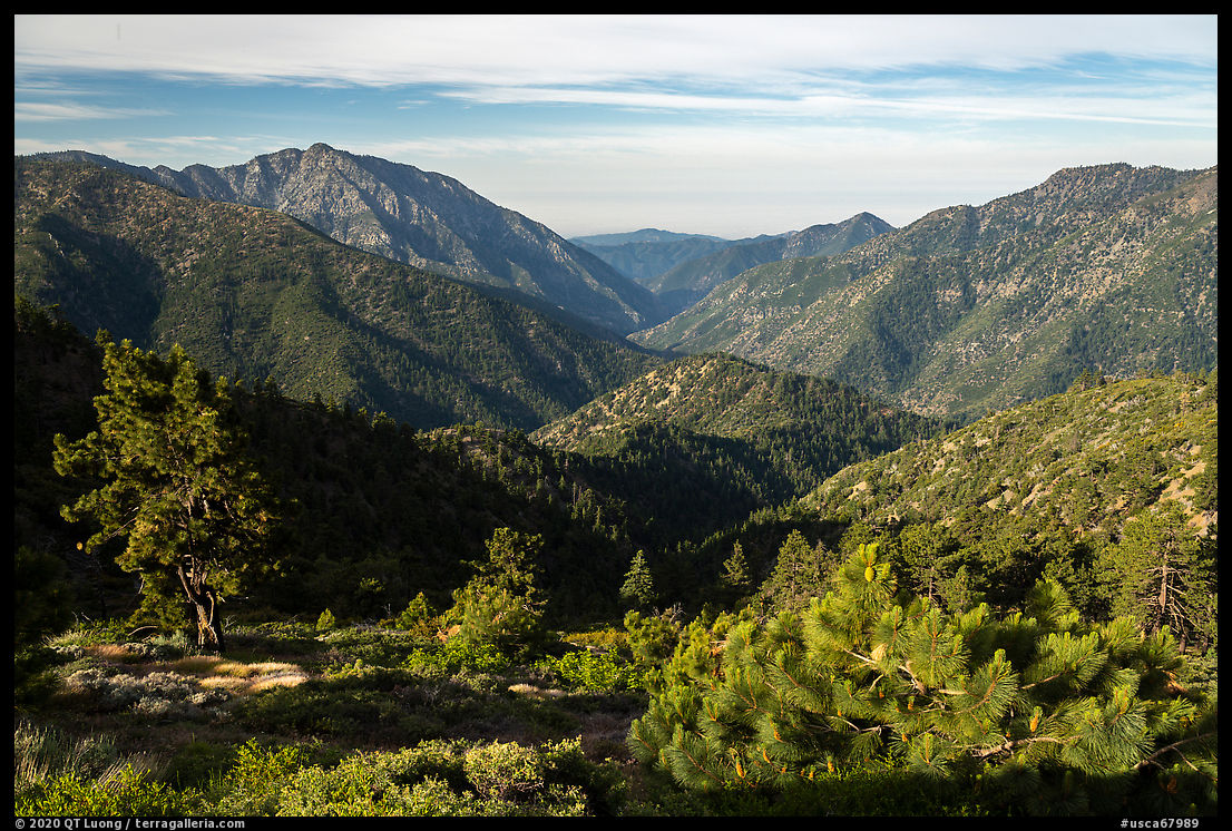 Valley between Iron Mountain and Ross Mountain from Blue Ridge. San Gabriel Mountains National Monument, California, USA