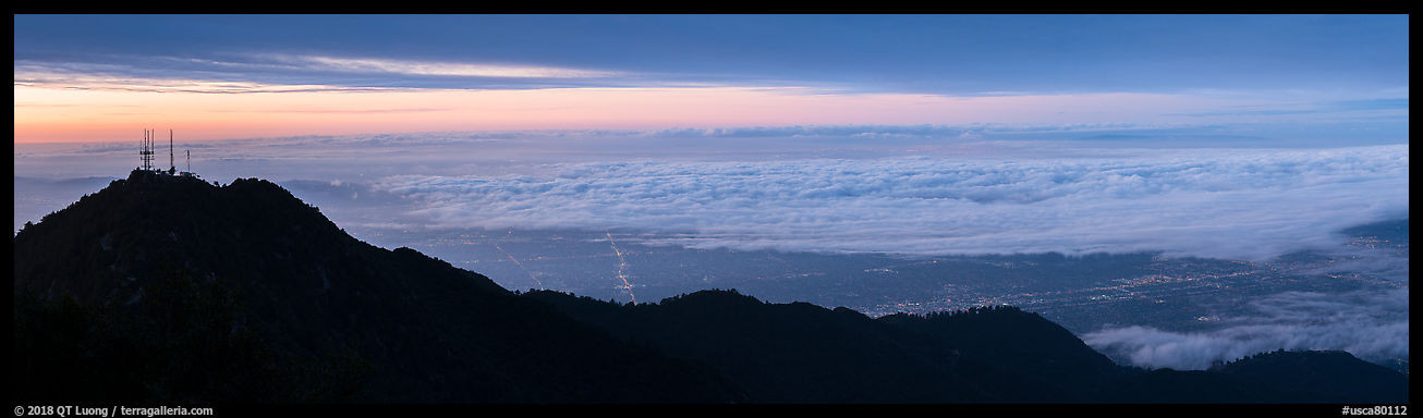 Los Angeles Basin covered with sea of clouds from Mount Wilson, sunrise. San Gabriel Mountains National Monument, California, USA