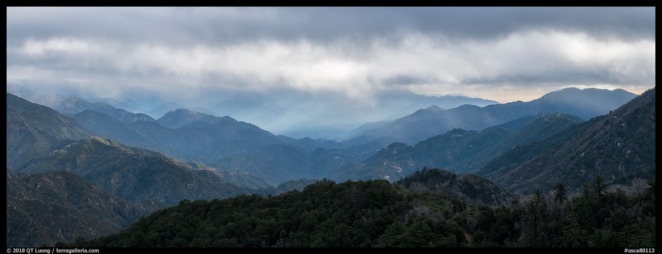 Rolling peaks under stormy sky. San Gabriel Mountains National Monument, California, USA