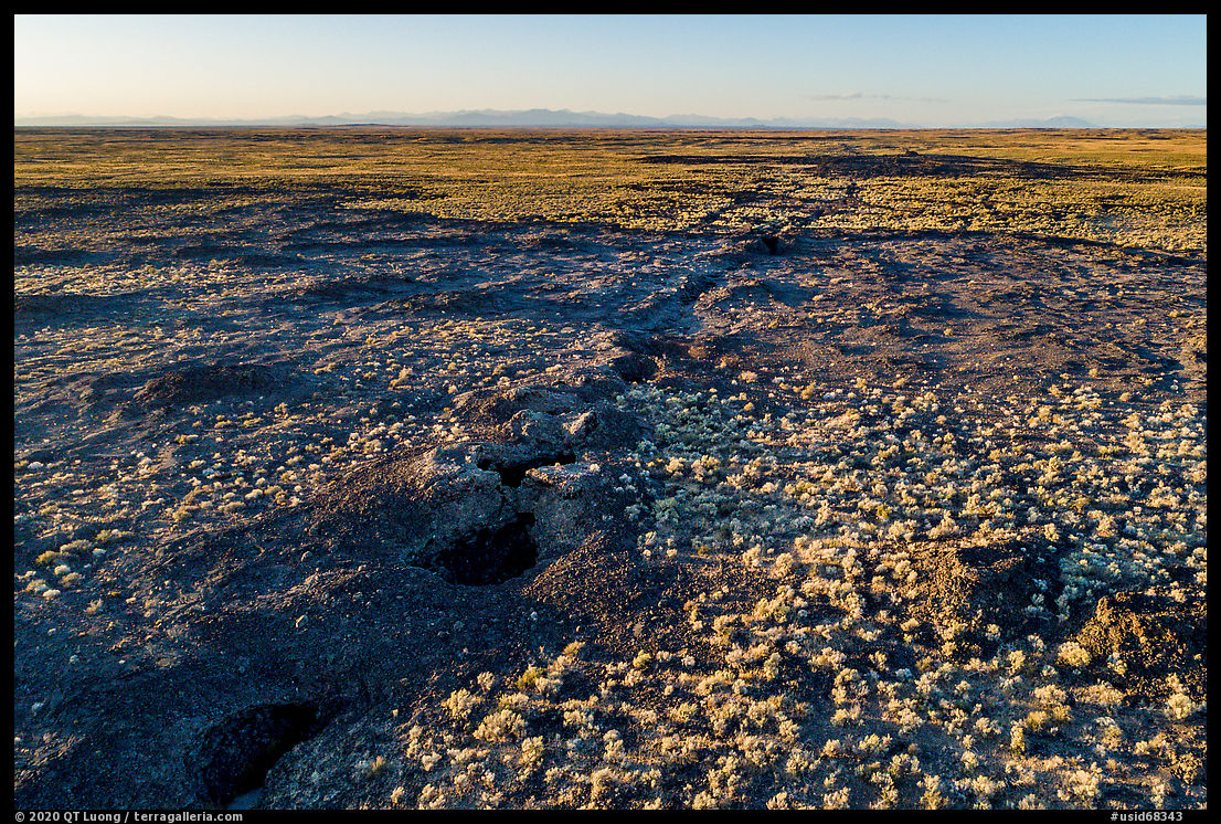 Aerial view of Great Rift volcanic fissure. Craters of the Moon National Monument and Preserve, Idaho, USA