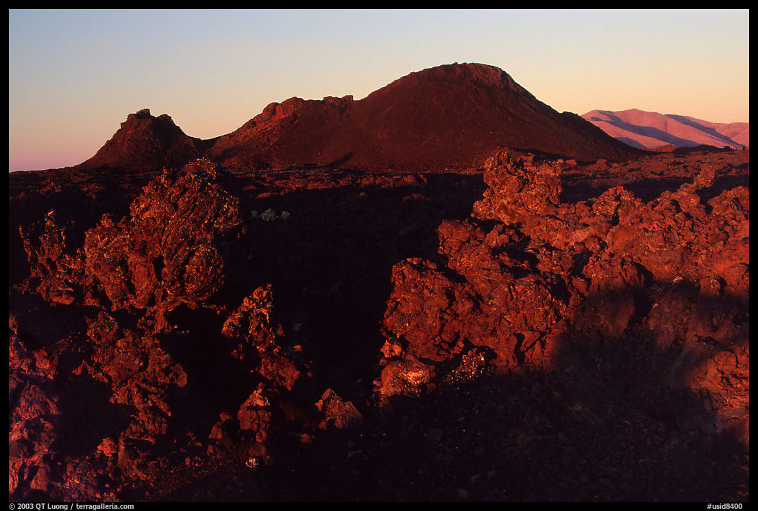 Cinder crags and cones, sunrise. Craters of the Moon National Monument and Preserve, Idaho, USA