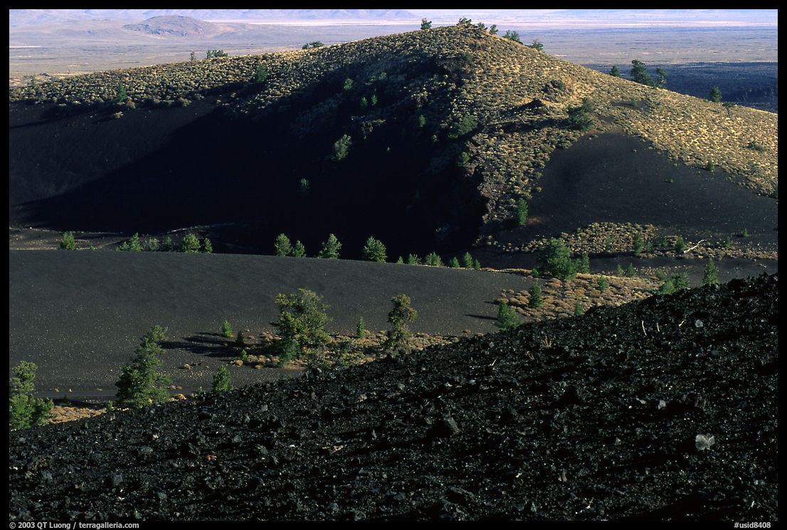 Slopes covered with hardened lava and cinder. Craters of the Moon National Monument and Preserve, Idaho, USA