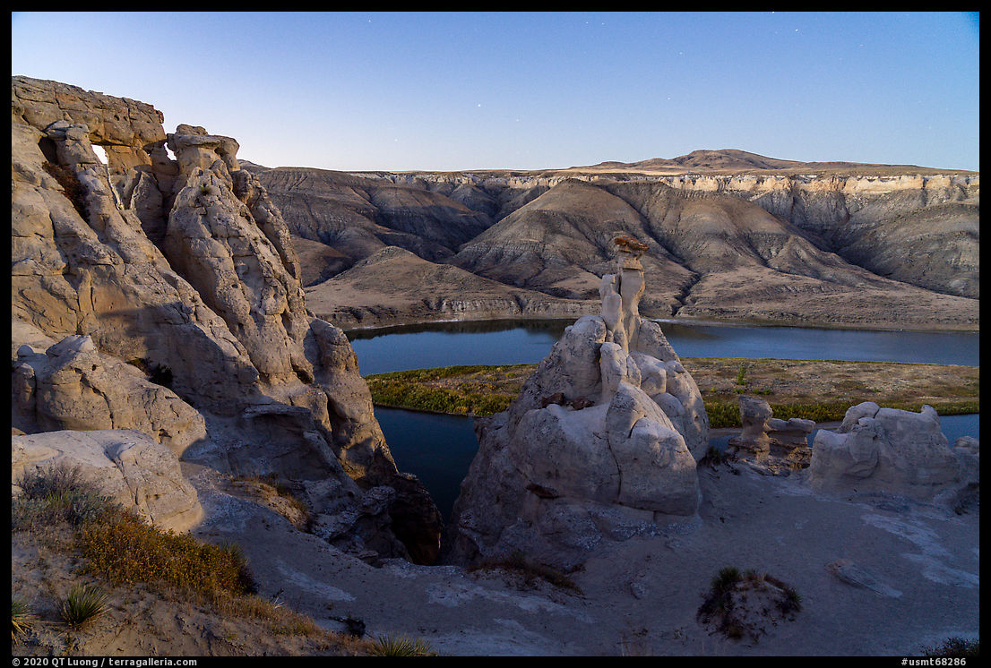 Hole-in-the-Wall by moonlight. Upper Missouri River Breaks National Monument, Montana, USA