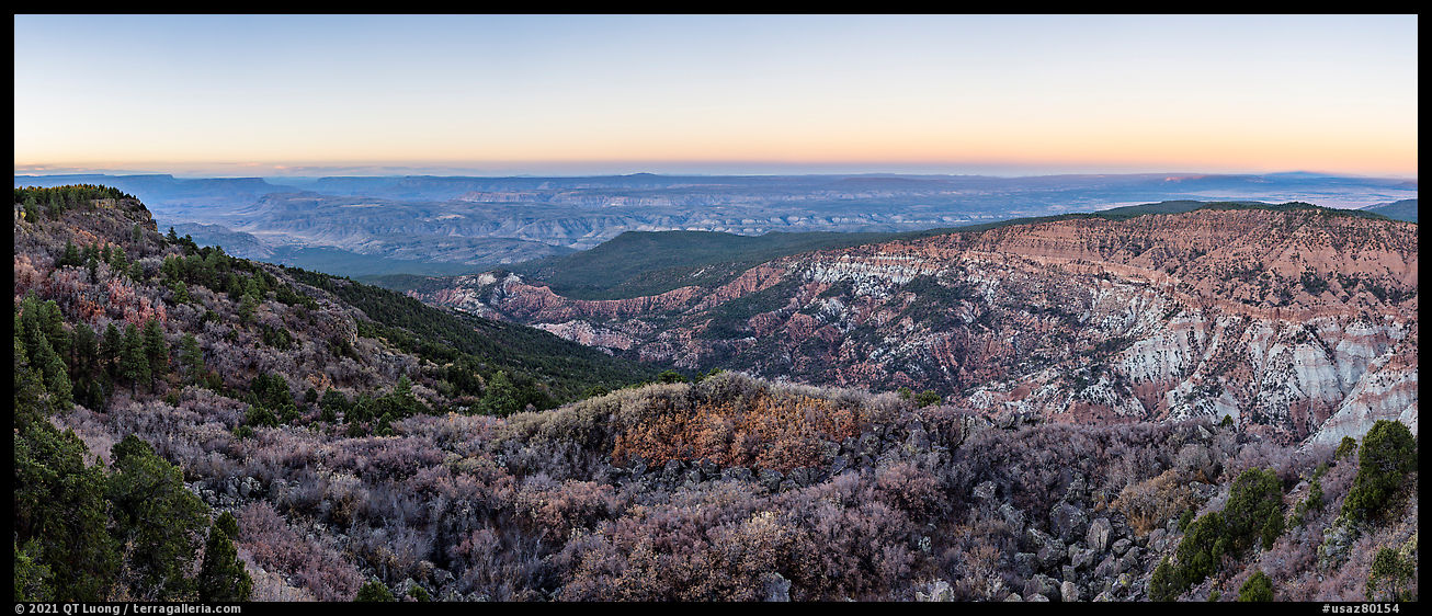 Grand Canyon and Hells Hole from Mount Logan at sunrise. Parashant National Monument, Arizona, USA