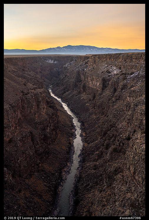 Rio Grande Gorge at sunrise from High Brige. Rio Grande Del Norte National Monument, New Mexico, USA
