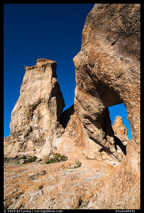 Natural arch and rock towers. Basin And Range National Monument, Nevada, USA