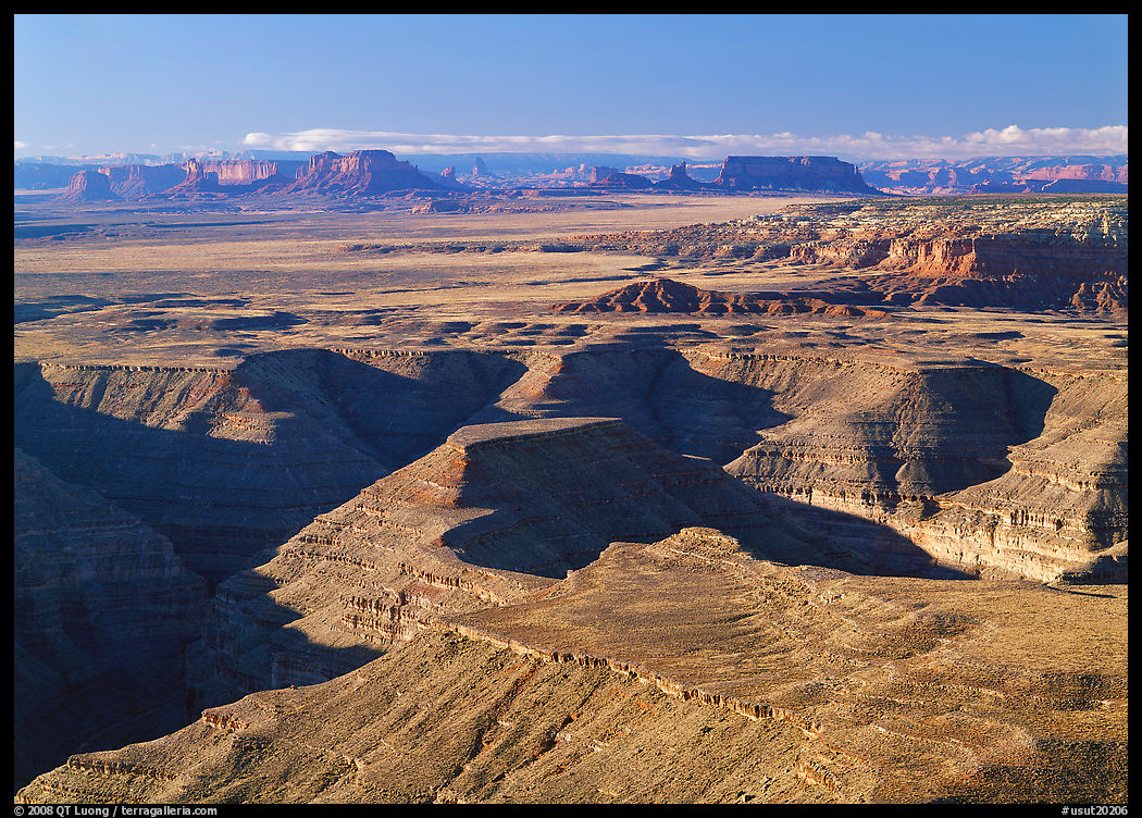 San Juan Canyon from Muley Point, with Monument Valley in the distance. Bears Ears National Monument, Utah, USA