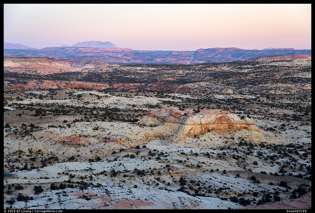 Expanses of sandstone from Heads of the Rocks, sunset. Grand Staircase Escalante National Monument, Utah, USA