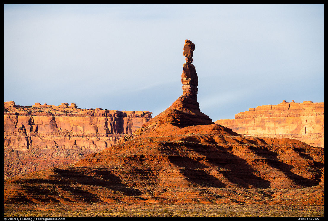 Monolith and cliffs, Valley of the Gods. Bears Ears National Monument, Utah, USA
