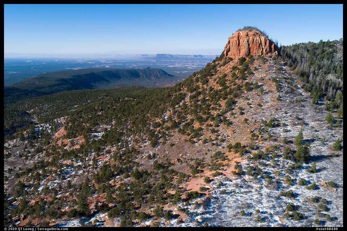 Aerial view of West Bears Ears Butte with snow. Bears Ears National Monument, Utah, USA