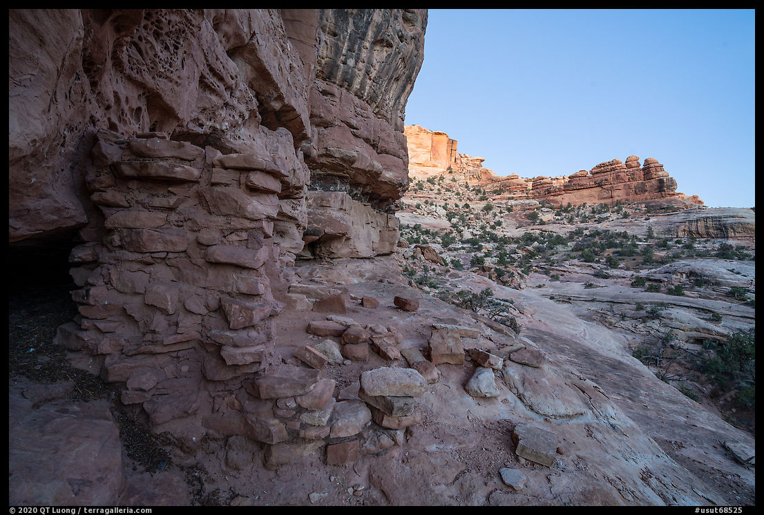 Ruined wall in Bullet Canyon at twilight. Bears Ears National Monument, Utah, USA