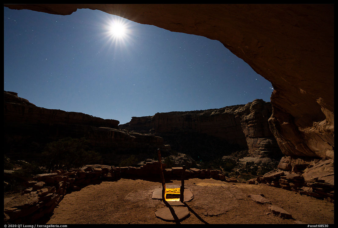 Light from Perfect Kiva and moon. Bears Ears National Monument, Utah, USA