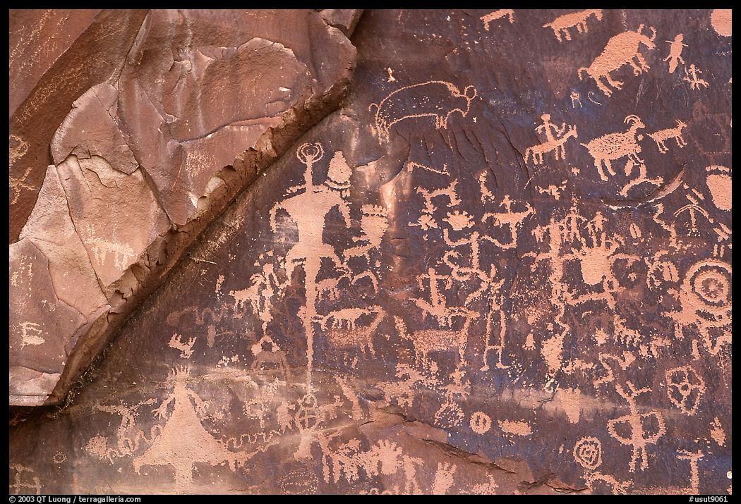 Petroglyphs on Newspaper rock. Bears Ears National Monument, Utah, USA