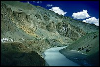 Tsarap River and Phugtal monastery, Zanskar, Jammu and Kashmir. India ( color)