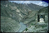 Covered chorten river valley, Zanskar, Jammu and Kashmir. India ( color)