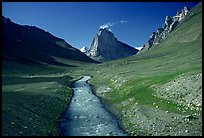 Zanskar River and  Gumburanjan monolith, Zanskar, Jammu and Kashmir. India