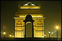 India Gate by night. New Delhi, India (color)