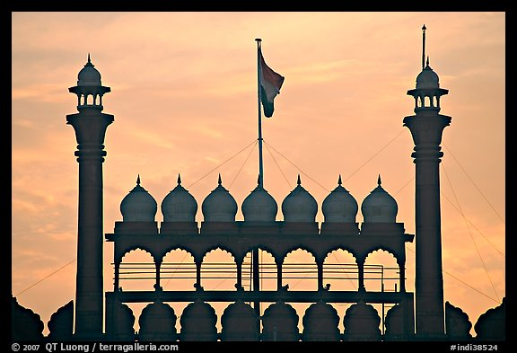 Turrets above Lahore Gate, Red fort, sunrise. New Delhi, India (color)