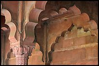 Detail of arche in Diwan-i-Am, Red Fort. New Delhi, India (color)