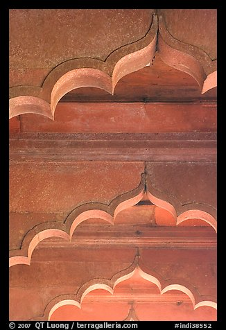 Arches and roof detail, Diwan-i-Am, Red Fort. New Delhi, India