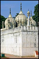 Moti Masjid (Pearl Mosque), enclosed between walls aligned with the rest of the Red Fort. New Delhi, India