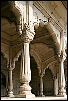 Thin columns, Khas Mahal, Red Fort. New Delhi, India