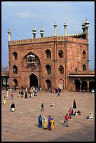 Courtyard and East gate of Jama Masjid mosque. New Delhi, India (color)