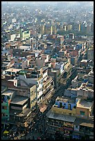 View of a Old Delhi street from above. New Delhi, India ( color)