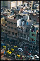 Street traffic and buildings from above, Old Delhi. New Delhi, India ( color)