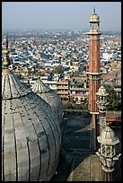 Domes and Minaret from above, Jama Masjid. New Delhi, India ( color)