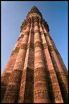 Qutb Minar seen from base, tallest brick minaret in the world. New Delhi, India (color)