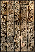 Floral motifs and geometical patterns, Quwwat-ul-Islam mosque, Qutb complex. New Delhi, India