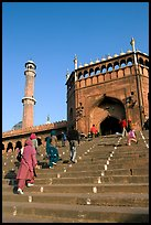 Stairs leading to Jama Masjid South Gate, and minaret. New Delhi, India ( color)