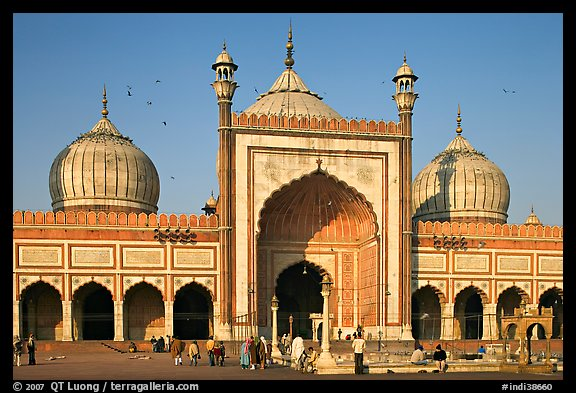 Jama Masjid, India's largest mosque, morning. New Delhi, India (color)