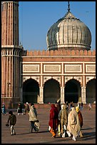 Group of people, courtyard, prayer hall, and dome, Jama Masjid. New Delhi, India ( color)