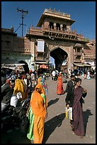 Women in front of Sardar Market gate. Jodhpur, Rajasthan, India