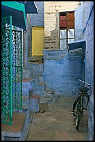 Blue alley with bicycle. Jodhpur, Rajasthan, India