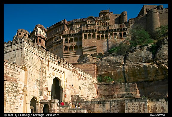 Gate and high wall, Mehrangarh Fort. Jodhpur, Rajasthan, India (color)