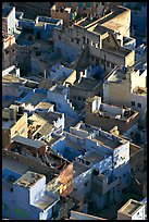Terraces on top of blue houses seen from above. Jodhpur, Rajasthan, India